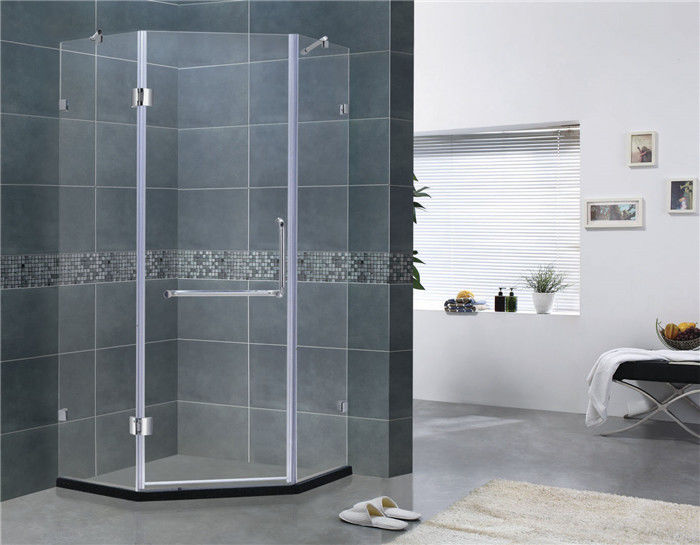 Two Adjustable Support Bar Shower Screens Swing Hinge Diamond Style 135 Degree Magnetic Seal