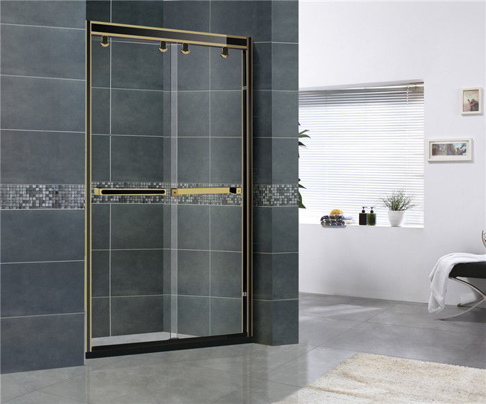 Gloden and Black Stainless Steel Shower Enclosures Inline Double Sliding With Same color Wheels