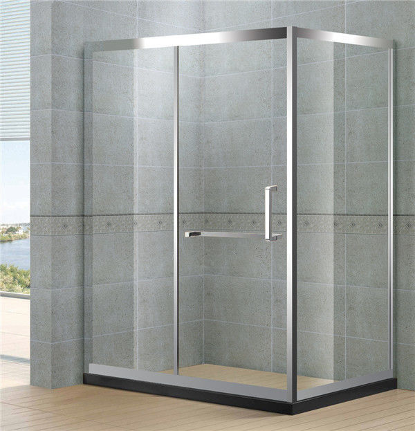 Sliding Rectangular Shower Cubicle Mirror Full Stainless Materials With  Stainless Steel Wheels