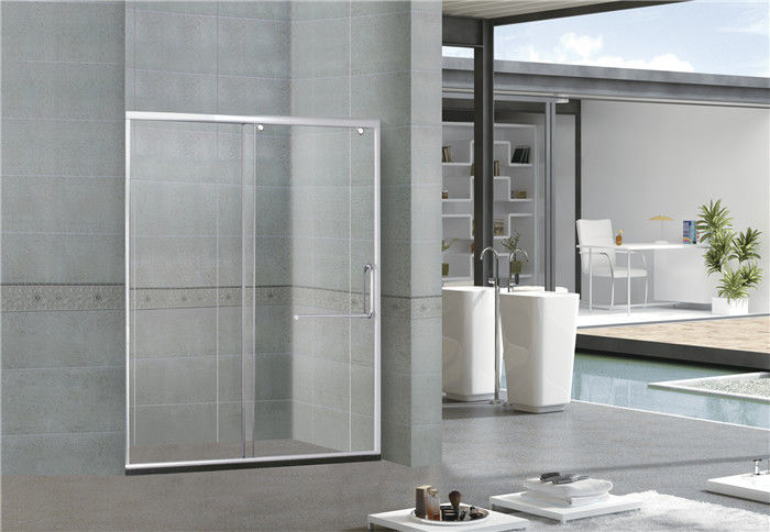 Bright Silver Inline Glass Shower Doors With One Sliding Aluminum Alloy SGCC Certification