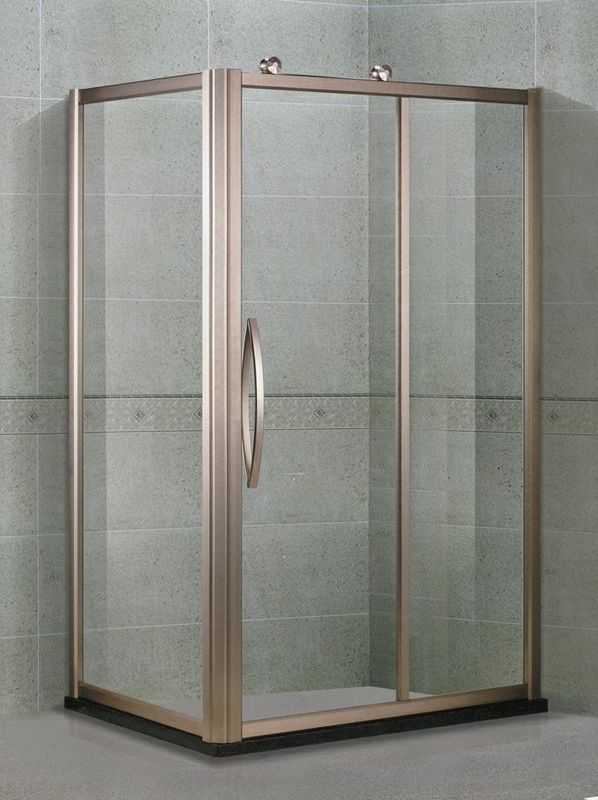 Aluminum Alloy Proflies Glass Shower Screens With Outside Wheels and Rose Golden Handles