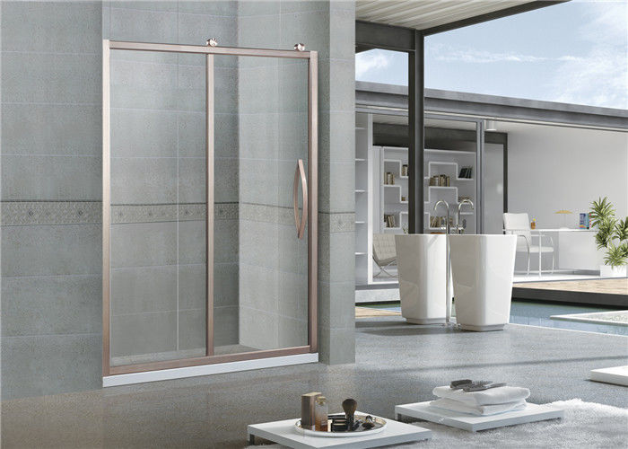 European Standards Sliding Glass Shower Doors / Rose Gold Full Shower Enclosure