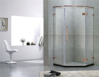 Red Bronze Frameless Swing Shower Enclosures Dengan Engsel Stainless Steel dan Bar Pendukung