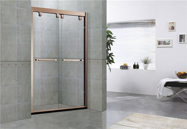 Rose Gold Double Moving Glass Shower Lampiran 8/10 MM Clear Tempered Glass untuk Rumah / Hotel