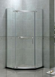 Bentuk Sudut Tunggal Pivot Pintu Shower Ayunan Stainless Steel 8 MM Clear Tempered Glass