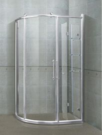 6/8 mm Sektor Shower Kios Bright Silver Aliminum Alloy Frame Dengan Shelf Shower