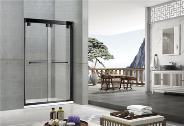 Sand Black Double Sliding Kaca Shower Screen Aluminium Alloy Inline Sertifikasi CE