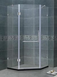 Frameless 8/10 MM Kaca Shower Layar Clear Tempered Dengan Stainless Steel Dua Bar Dukungan