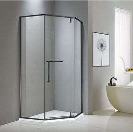 Neo-angle matt black stainless steel shower enclosure 900*900 with one hinge door and two fixed panels